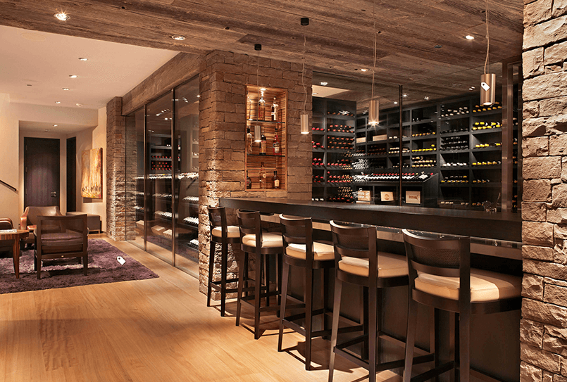 Bar Design Ideas For Home Aspen-Inspired Home Bar Design and Cellar